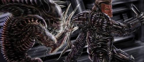Human VS Alien Fight by Metallart