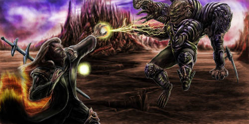 Battle mage and a giant by Metallart