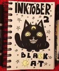 Inktober 2 Black Cat by Suesanne