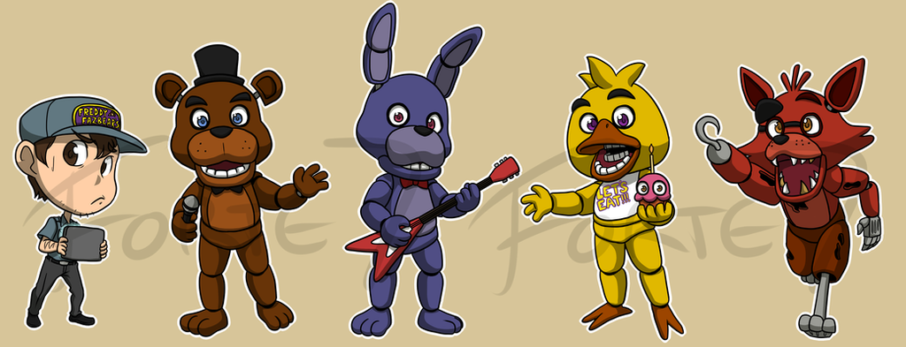 Stickers: Five Nights at Freddy's Set 1 by forte-girl7