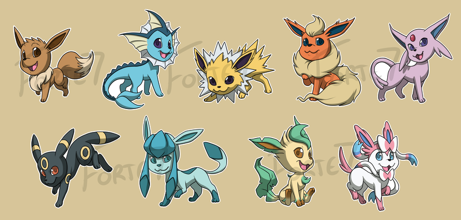 Stickers: Eevee Evolutions By Forte Girl7 ...