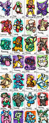 Pokemon: Pokemon December 2016 Watercolors by forte-girl7