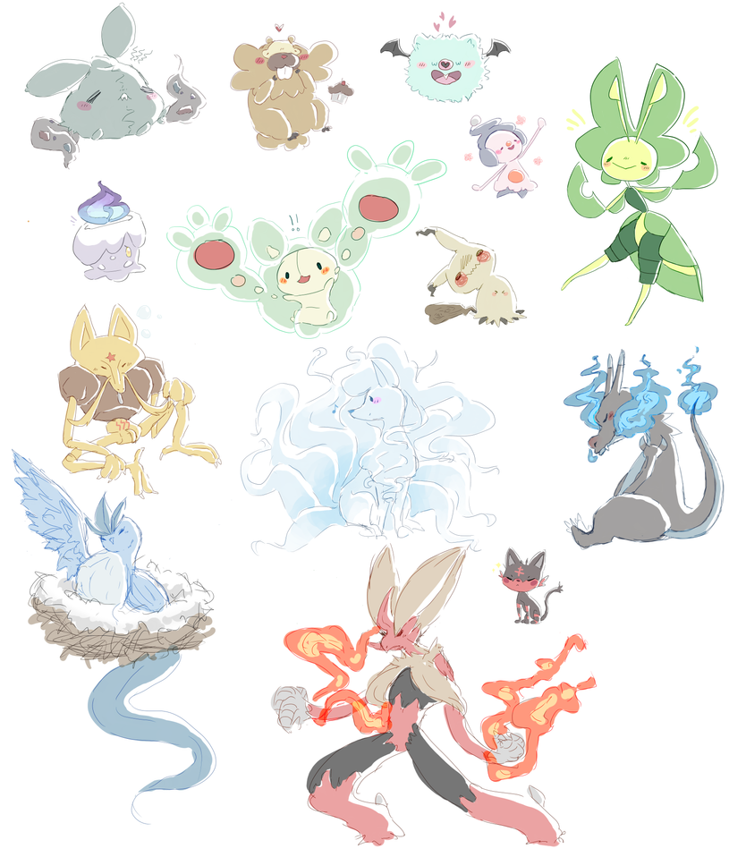 Pokemon Commission dump by JingerPink