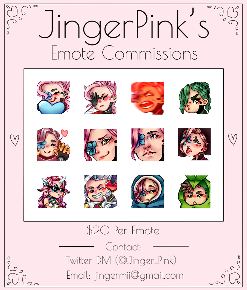 Twitch and Discord Emote Commissions Open! by JingerPink