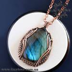 Wire wrapped copper pendant with blue labradorite