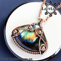 Wire wrapped copper pendant with labradorite by LacyLoveHandmade