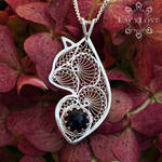 Handmade sterling silver filigree cat