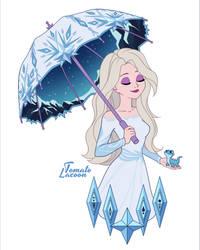 Elsa with umbrella