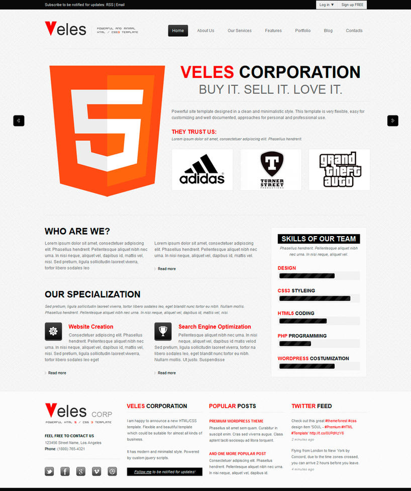 VELES - Premium HTML Template by OrangeIdea