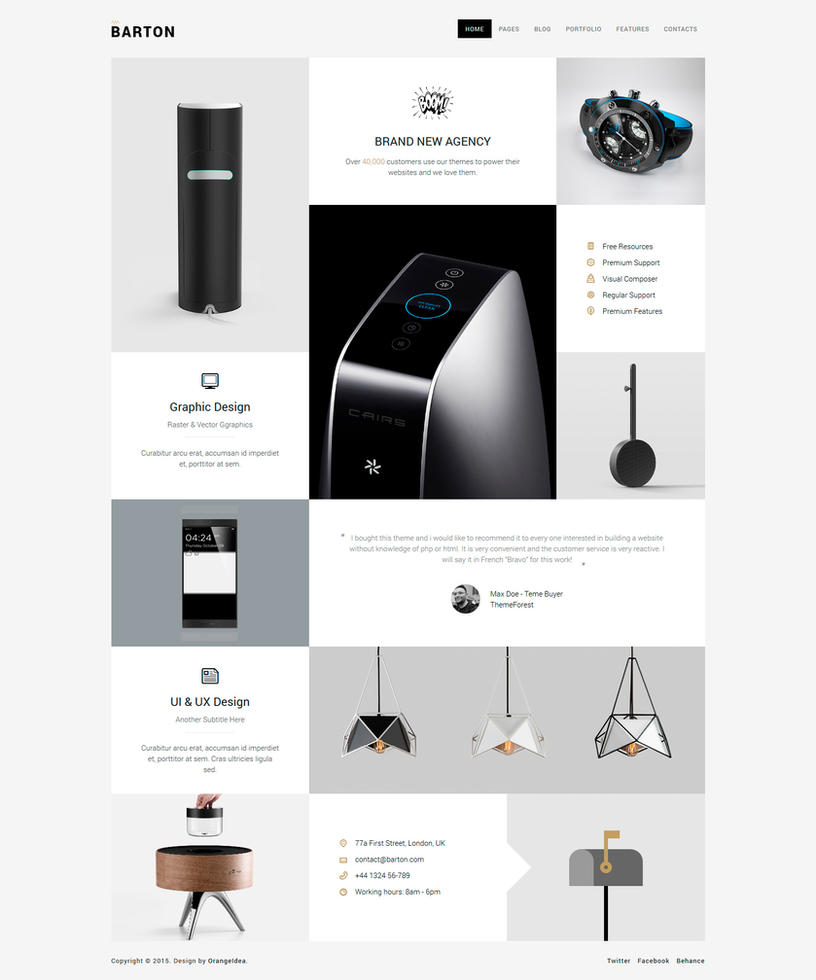 BARTON - Smart Portfolio Theme for Creative People by OrangeIdea