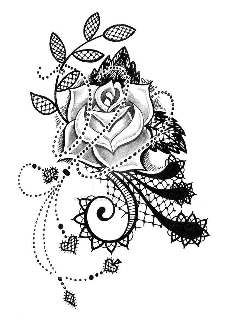 Lace rose by leelab on deviantart for Rose lace tattoo
