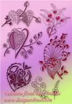 Valentine floral  heart brush