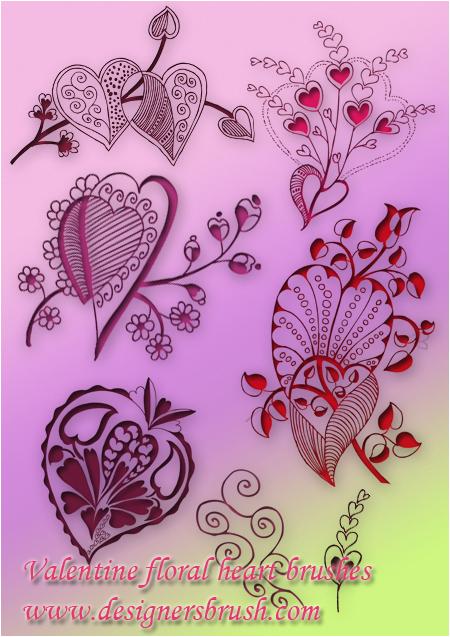 Valentine floral  heart brush by designersbrush