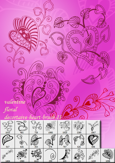 Valentine floral brush