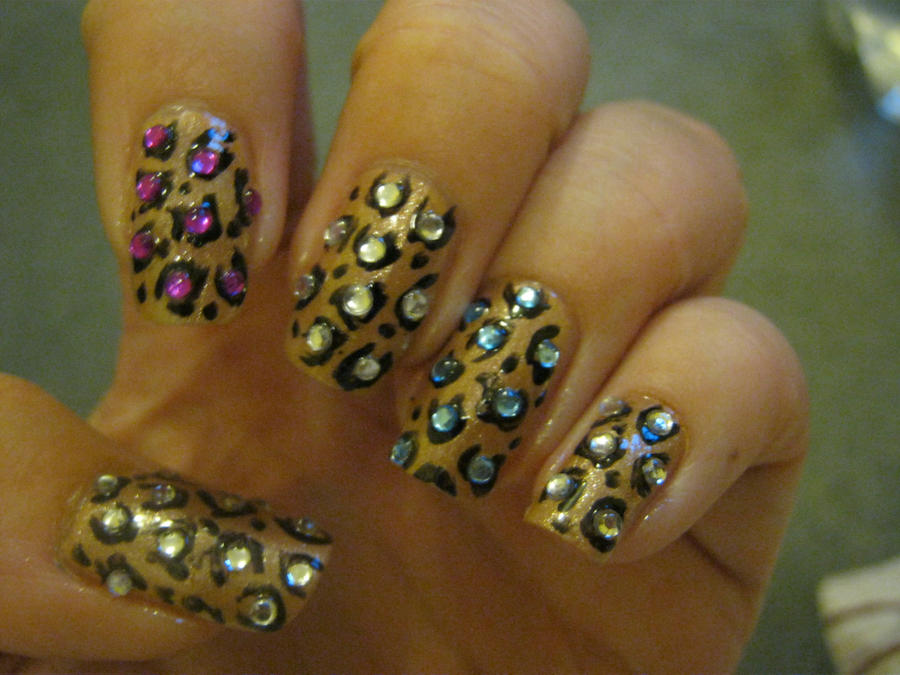 leopard print gem nail art by VIXEN270991 on DeviantArt