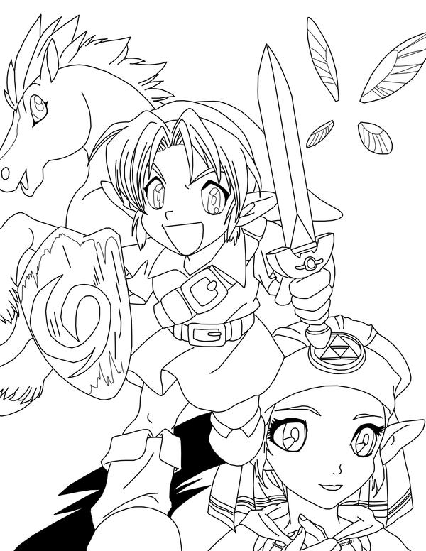 Line Art Zelda : Link zelda and epona lineart by frozen phoenix on deviantart