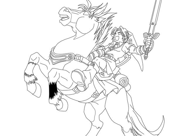 Link And Epona Line Art By Frozen--phoenix On DeviantArt