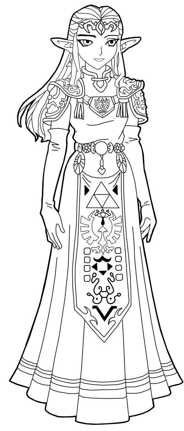 Line Art Zelda : Princess zelda line art by frozen phoenix on deviantart