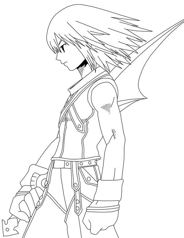Riku Line Art By Frozen Phoenix
