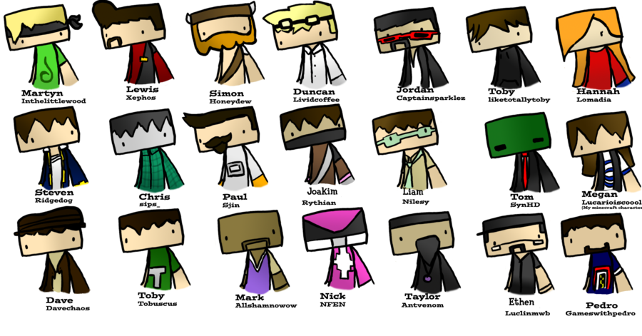 Minecraft Youtubers by MCdrawings on DeviantArt