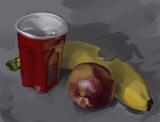 Cup, Fruits, and a Nickel