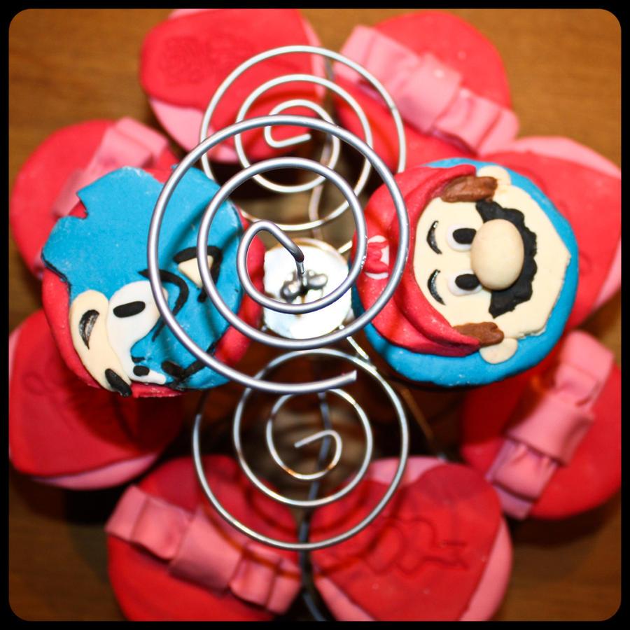 Luffy +nintendo cupcake progress by SpiderCoffee