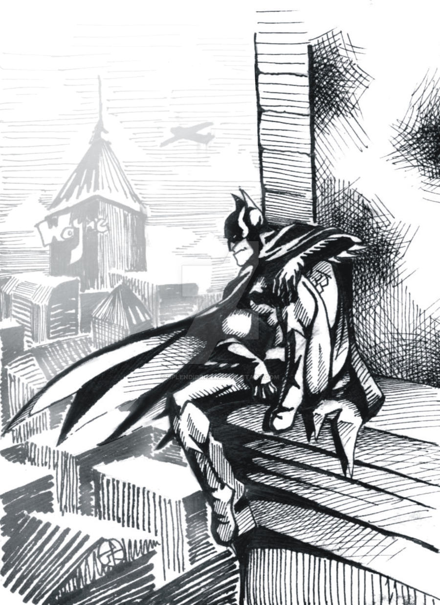 Batman Gotham Inking by splendidriver