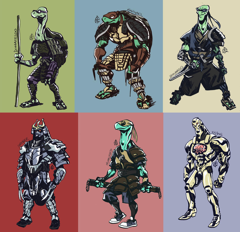 Adult Mutant Samurai Turtles by splendidriver