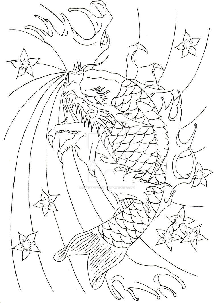Dragon Koi Lineart By Mikesmith101 On Deviantart Touareg Fuse Box Diagram