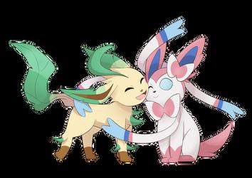 Leafeon hugs Sylveon