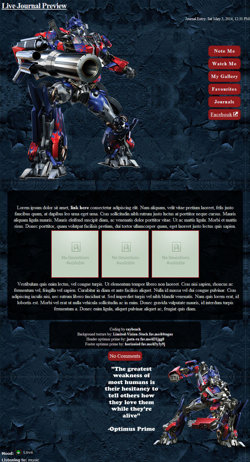 Optimus Prime CSS for FrizzieKizzie by caybeach
