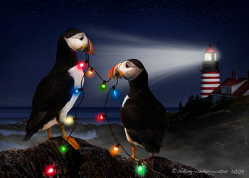 Merry Puffin Christmas by hiding-under-water