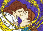 Belle and Adam kiss Lineart