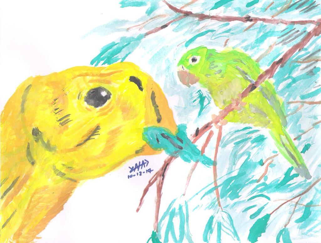 El Psittacosaurus y Cuchi by YNAD009