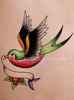 Swallow w banner by brander