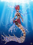 Nami, the Tidecaller, Red Lionfish Mermaid- WIP4