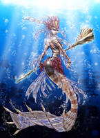 Nami, the Tidecaller, Red Lionfish Mermaid by Noctume