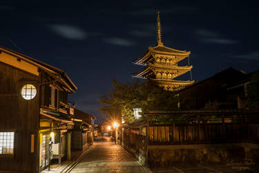Pagoda at night by LunaFeles