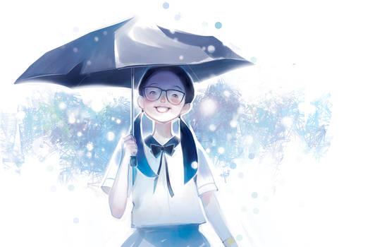 Smiling in the rain