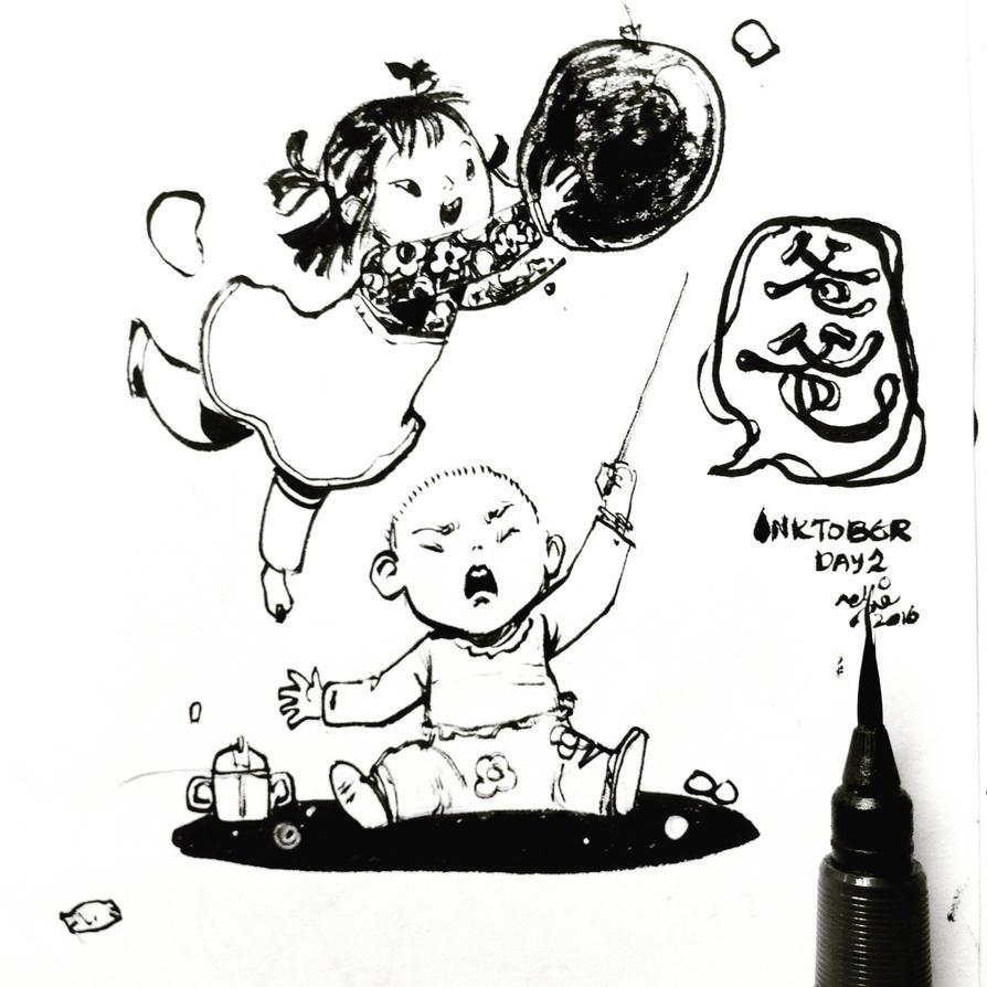 INKtober Day2 -balloon pop by SillyJellie