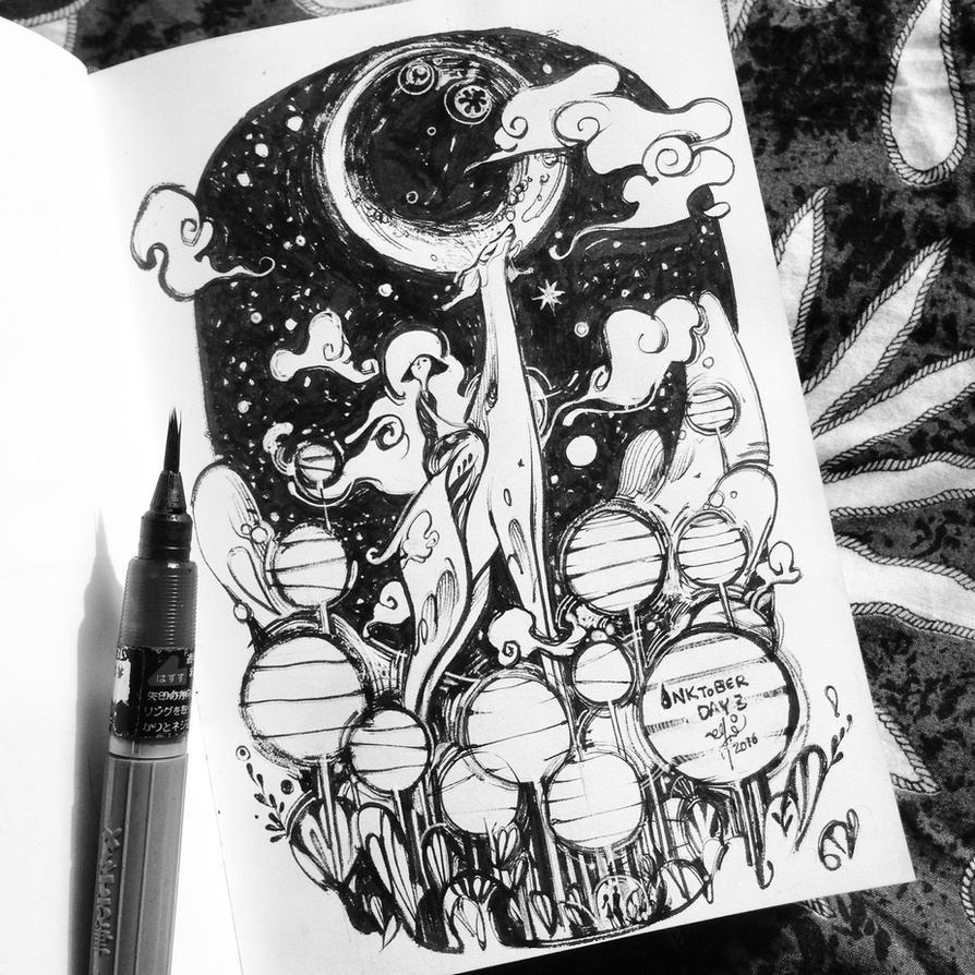 INKtober day 3 - Lanterns by SillyJellie
