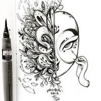 INKtober day 18 | Maskara by SillyJellie