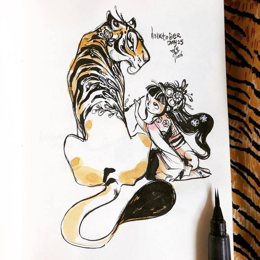 INKtober day 25| Tiger Skin by SillyJellie