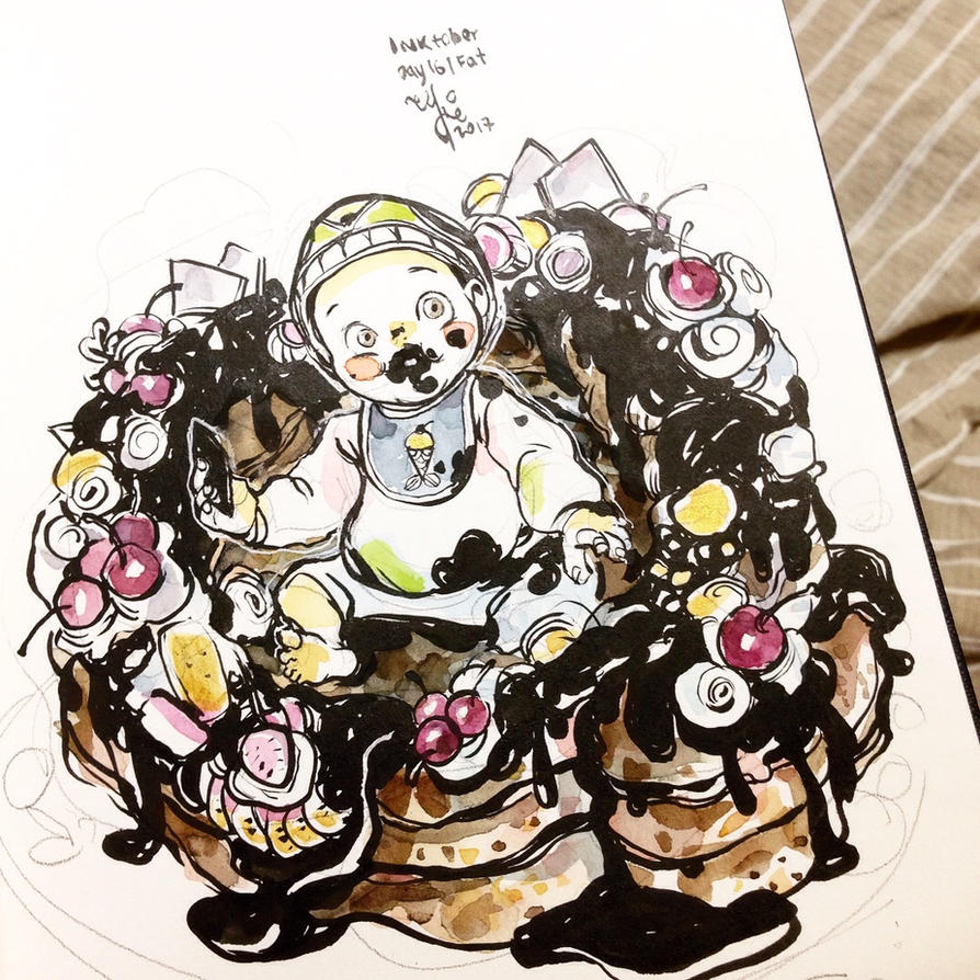 INKtober day15 | Fat (v2) by SillyJellie