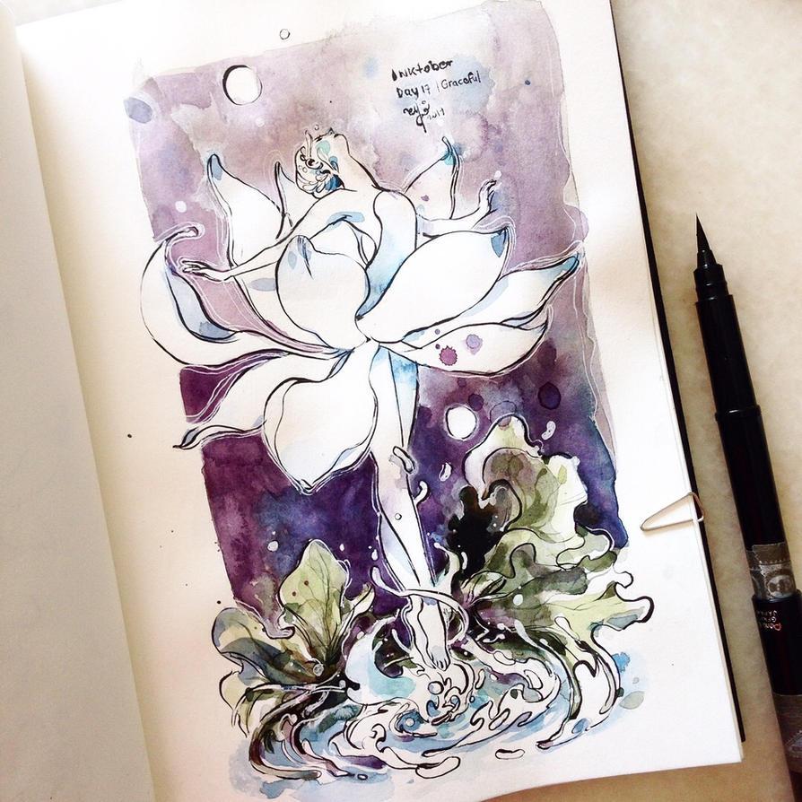 INKtober day 17| Graceful (v1) by SillyJellie