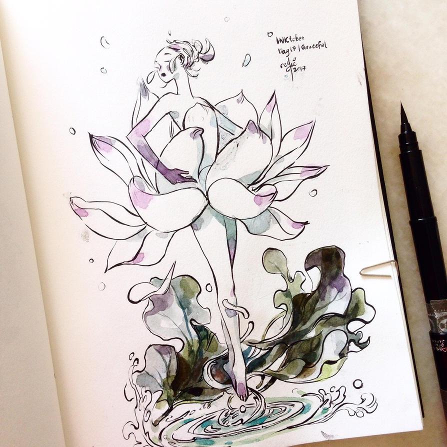 INKtober day 17| Graceful (v2). by SillyJellie