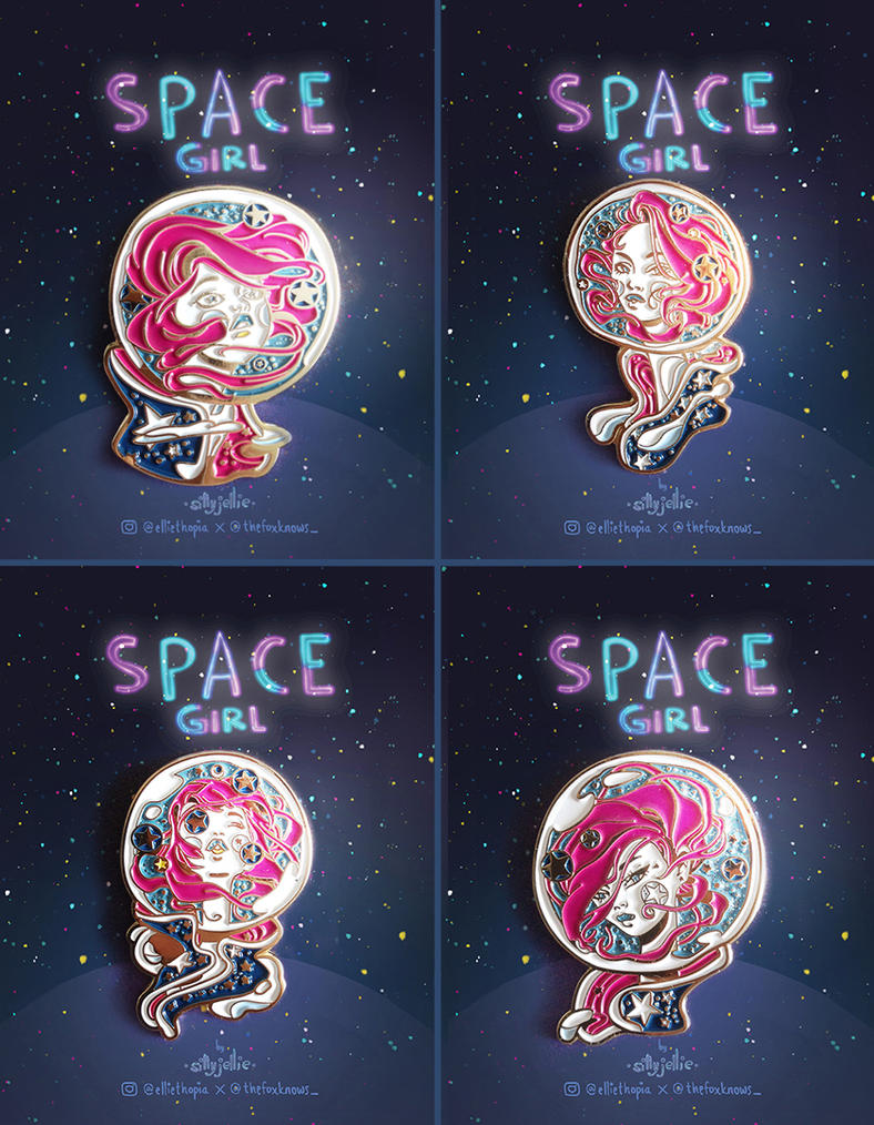 Space Girl Pins by SillyJellie