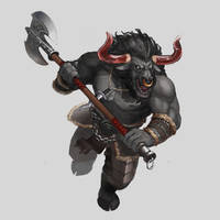 Commission - Minotaur Wild Soul Barbarian