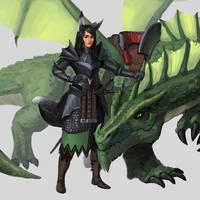 Commission - Half-Kitsune Dragon Rider