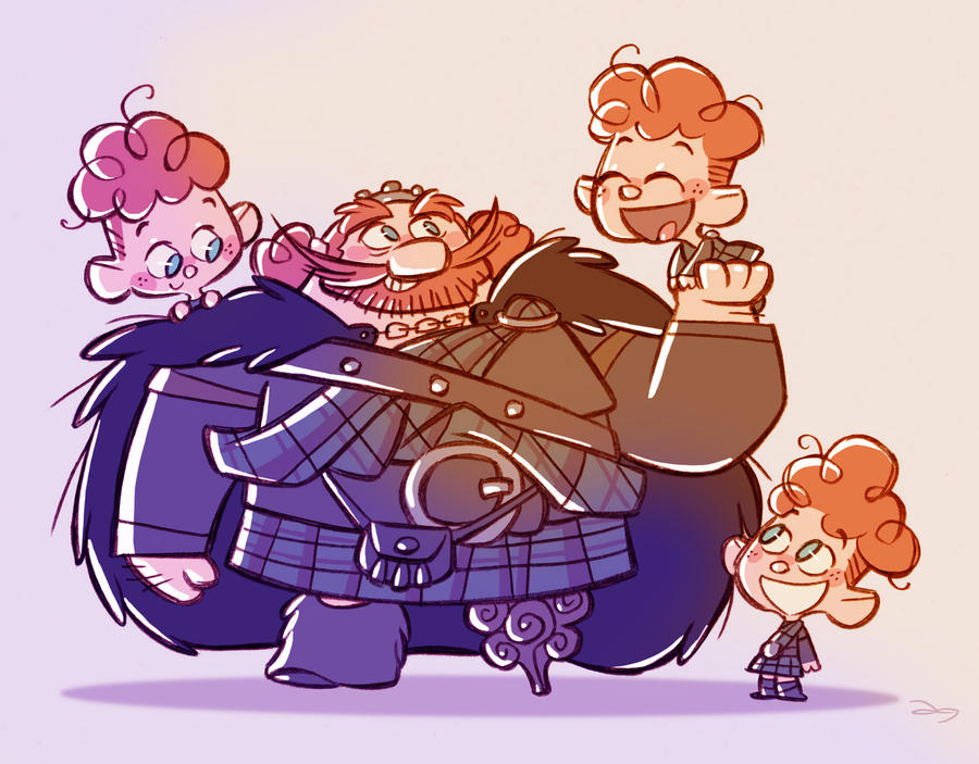 Chibis King Fergus and Triplets by princekido